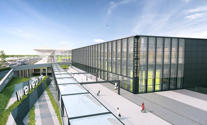 rendering of planned new terminal at Stansted airport