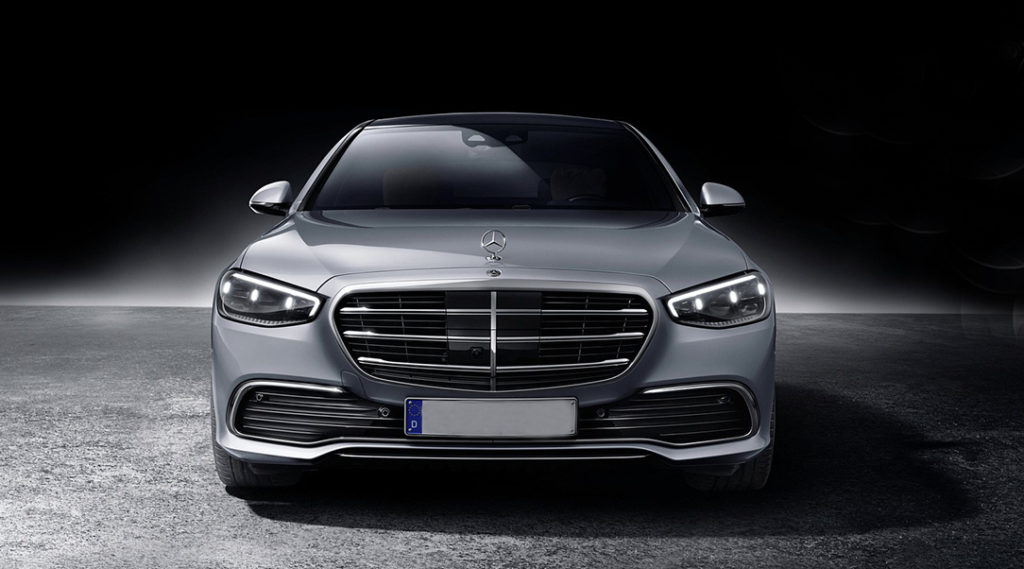 Front view of 2021 S class Mercedes